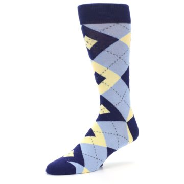 Image of Light Blue Navy Canary Argyle Men's Dress Socks (side-2-09)