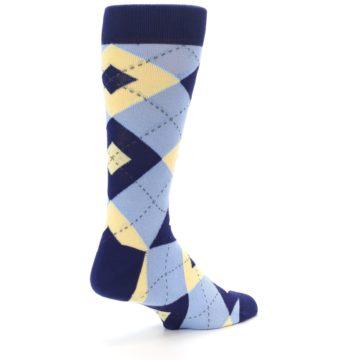 Image of Light Blue Navy Canary Argyle Men's Dress Socks (side-1-back-22)