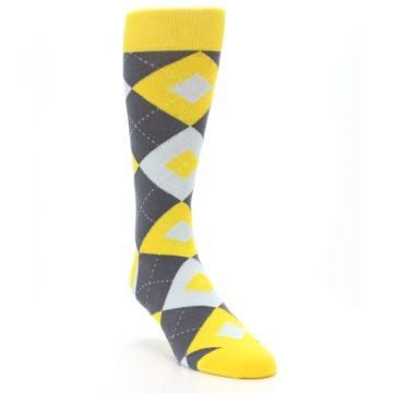 Image of Golden Yellow Gray Argyle Men's Dress Socks (side-1-front-02)