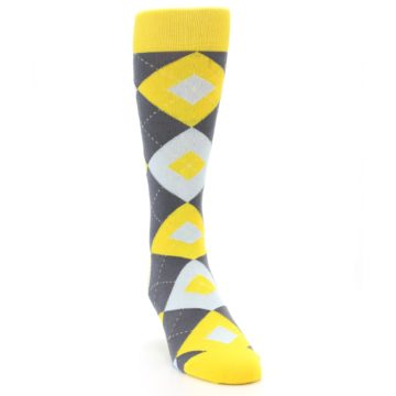 Image of Golden Yellow Gray Argyle Men's Dress Socks (side-1-front-03)