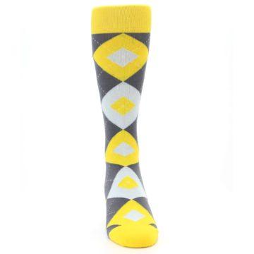 Image of Golden Yellow Gray Argyle Men's Dress Socks (front-04)