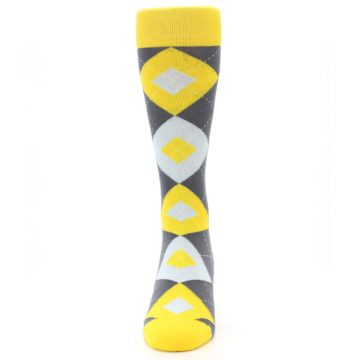 Image of Golden Yellow Gray Argyle Men's Dress Socks (front-05)
