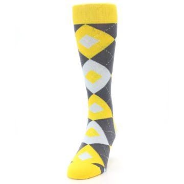 Image of Golden Yellow Gray Argyle Men's Dress Socks (side-2-front-06)