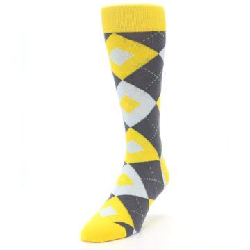 Image of Golden Yellow Gray Argyle Men's Dress Socks (side-2-front-07)