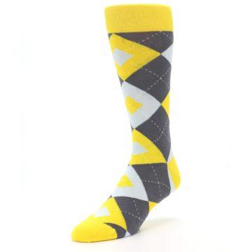 Image of Golden Yellow Gray Argyle Men's Dress Socks (side-2-front-08)
