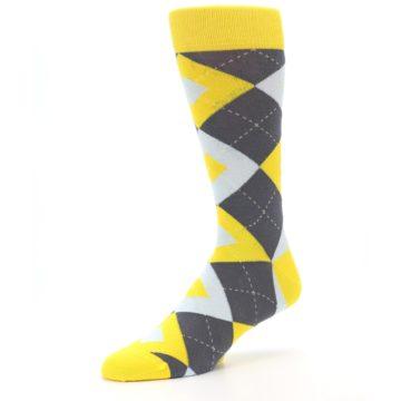 Image of Golden Yellow Gray Argyle Men's Dress Socks (side-2-09)
