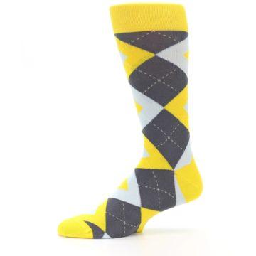 Image of Golden Yellow Gray Argyle Men's Dress Socks (side-2-11)