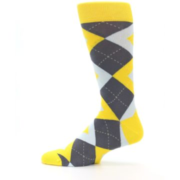 Image of Golden Yellow Gray Argyle Men's Dress Socks (side-2-12)