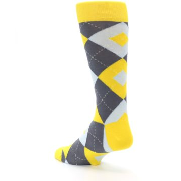 Image of Golden Yellow Gray Argyle Men's Dress Socks (side-2-back-15)