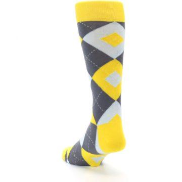 Image of Golden Yellow Gray Argyle Men's Dress Socks (side-2-back-16)