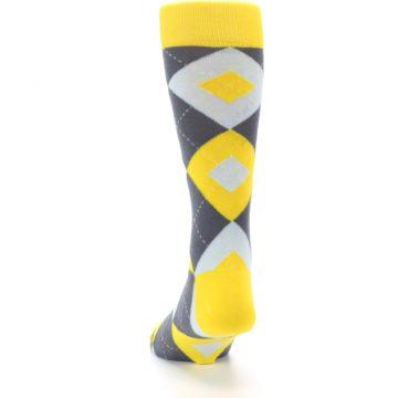 Image of Golden Yellow Gray Argyle Men's Dress Socks (back-17)