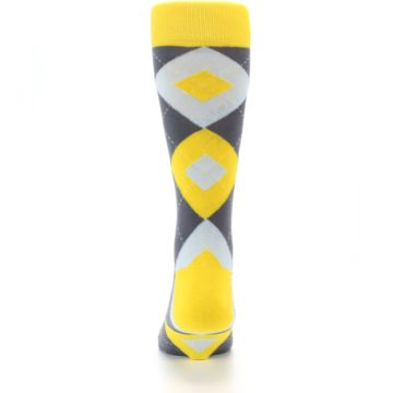Image of Golden Yellow Gray Argyle Men's Dress Socks (back-18)
