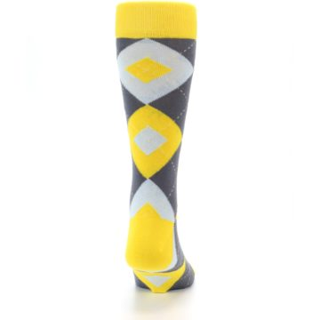 Image of Golden Yellow Gray Argyle Men's Dress Socks (back-19)