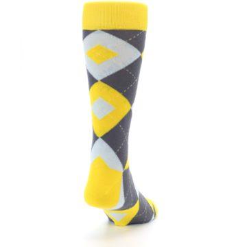 Image of Golden Yellow Gray Argyle Men's Dress Socks (side-1-back-20)