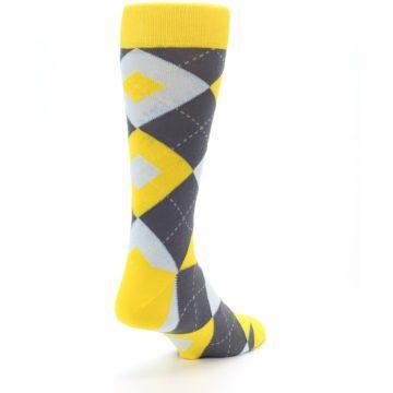Image of Golden Yellow Gray Argyle Men's Dress Socks (side-1-back-21)