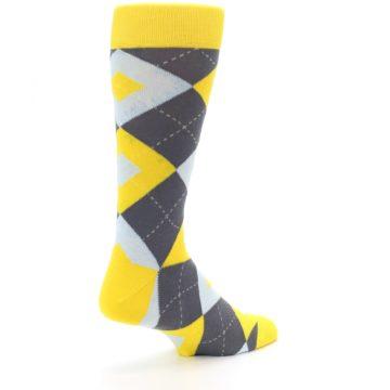Image of Golden Yellow Gray Argyle Men's Dress Socks (side-1-back-22)