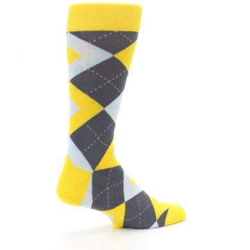 Image of Golden Yellow Gray Argyle Men's Dress Socks (side-1-23)