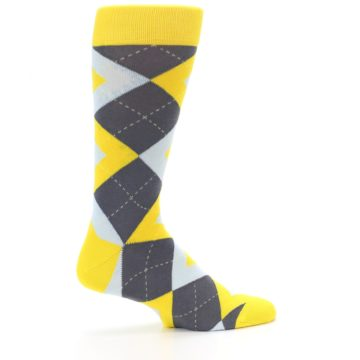 Image of Golden Yellow Gray Argyle Men's Dress Socks (side-1-24)