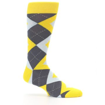Image of Golden Yellow Gray Argyle Men's Dress Socks (side-1-25)