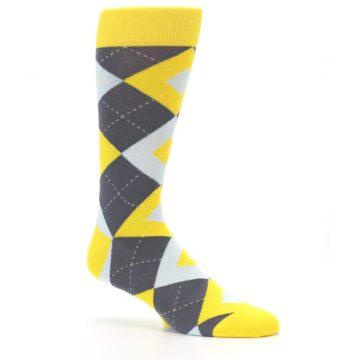 Image of Golden Yellow Gray Argyle Men's Dress Socks (side-1-26)