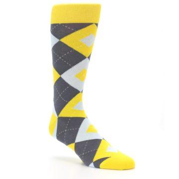 Image of Golden Yellow Gray Argyle Men's Dress Socks (side-1-27)