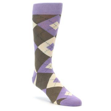 Purple Brown Argyle Groomsmen Wedding Socks