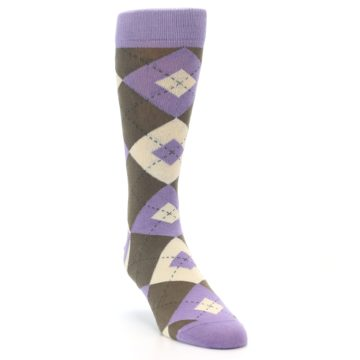 Image of Orchid Purple Brown Argyle Men's Dress Socks (side-1-front-02)
