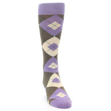 Image of Orchid Purple Brown Argyle Men's Dress Socks (side-1-front-03)