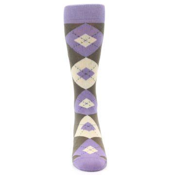 Image of Orchid Purple Brown Argyle Men's Dress Socks (front-04)