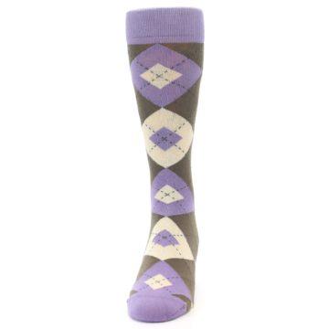 Image of Orchid Purple Brown Argyle Men's Dress Socks (front-05)