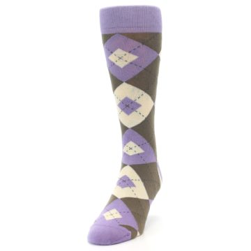 Image of Orchid Purple Brown Argyle Men's Dress Socks (side-2-front-06)