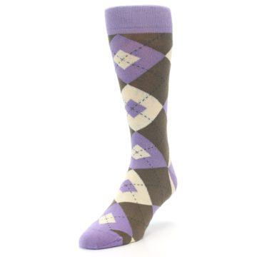 Image of Orchid Purple Brown Argyle Men's Dress Socks (side-2-front-07)
