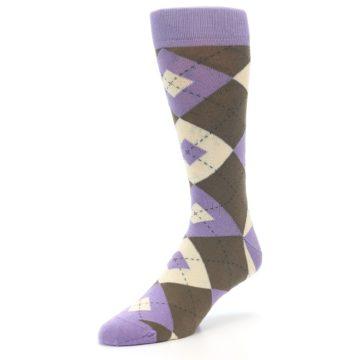 Image of Orchid Purple Brown Argyle Men's Dress Socks (side-2-front-08)