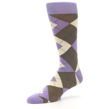 Image of Orchid Purple Brown Argyle Men's Dress Socks (side-2-09)