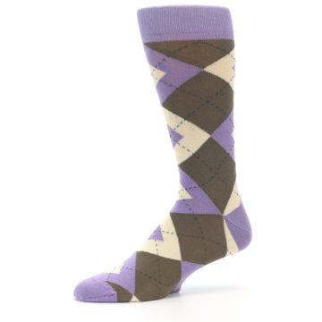 Image of Orchid Purple Brown Argyle Men's Dress Socks (side-2-10)