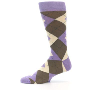 Image of Orchid Purple Brown Argyle Men's Dress Socks (side-2-11)