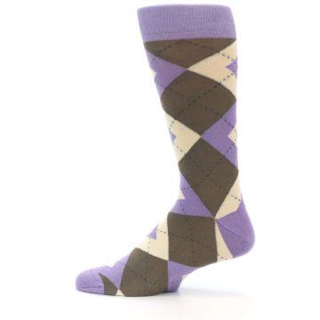Image of Orchid Purple Brown Argyle Men's Dress Socks (side-2-12)