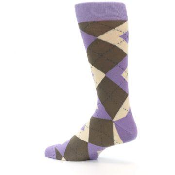 Image of Orchid Purple Brown Argyle Men's Dress Socks (side-2-13)