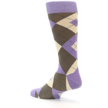 Image of Orchid Purple Brown Argyle Men's Dress Socks (side-2-back-14)