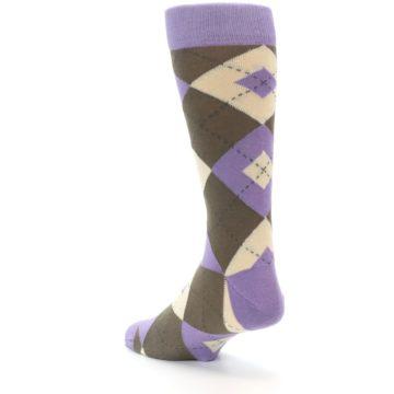 Image of Orchid Purple Brown Argyle Men's Dress Socks (side-2-back-15)