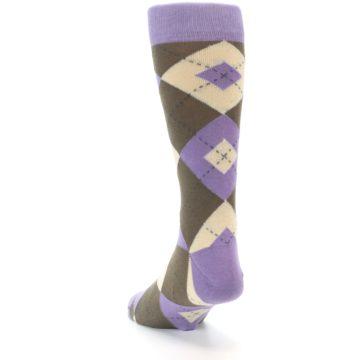 Image of Orchid Purple Brown Argyle Men's Dress Socks (side-2-back-16)