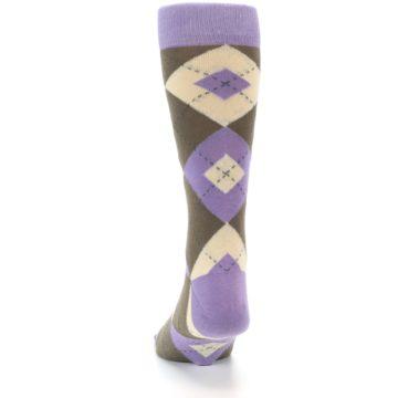 Image of Orchid Purple Brown Argyle Men's Dress Socks (back-17)