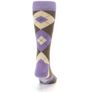 Image of Orchid Purple Brown Argyle Men's Dress Socks (back-19)