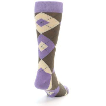 Image of Orchid Purple Brown Argyle Men's Dress Socks (side-1-back-20)
