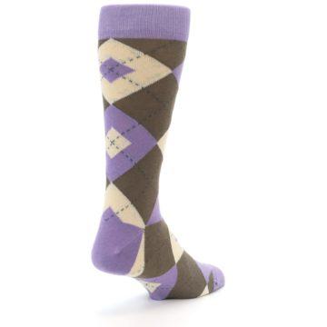 Image of Orchid Purple Brown Argyle Men's Dress Socks (side-1-back-21)