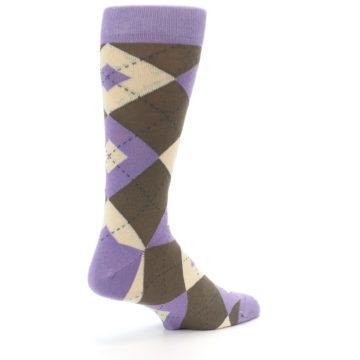 Image of Orchid Purple Brown Argyle Men's Dress Socks (side-1-back-22)