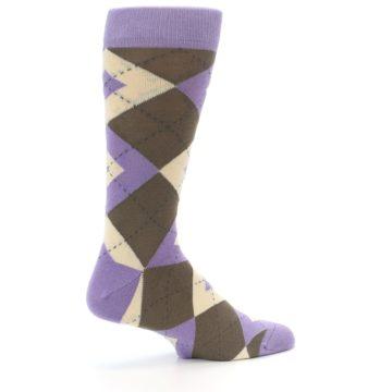 Image of Orchid Purple Brown Argyle Men's Dress Socks (side-1-23)
