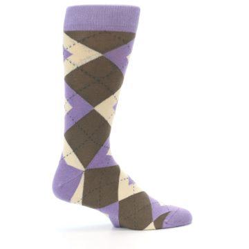 Image of Orchid Purple Brown Argyle Men's Dress Socks (side-1-24)