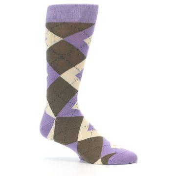 Image of Orchid Purple Brown Argyle Men's Dress Socks (side-1-25)