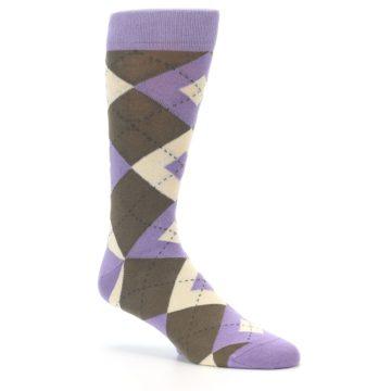 Image of Orchid Purple Brown Argyle Men's Dress Socks (side-1-26)